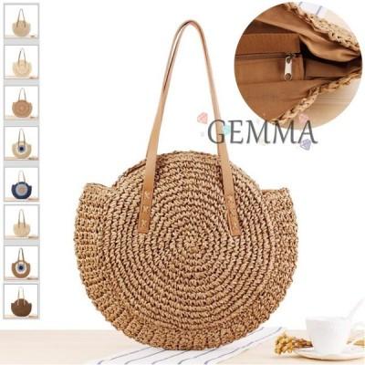 草編みバッグ レディース 麦わらバッグ かごバッグ  春夏 バケットバッグ 森ガール 手提げバッグ 韓国風  大容量 軽い 海 砂浜 旅行