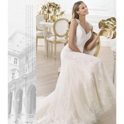 ウエディングドレス 結婚式 花嫁 二次会 エンパイア 大きいサイズ レース ホワイト ワンピース 高品質 マーメイドドレス トレーンドレス 深いVネック セクシー