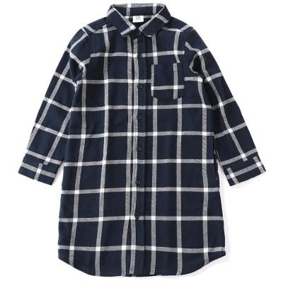 (devirock/デビロック)ネルチェックシャツ長袖ワンピース/ ネイビー系1