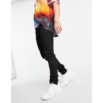トップマン Topman メンズ ジーンズ・デニム スキニー ボトムス・パンツ organic cotton stretch skinny knee rip jeans in black ブラック