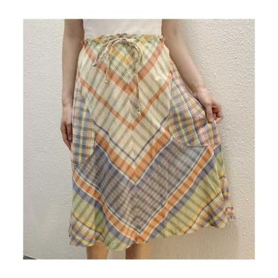 S〜Lサイズ【アメリカ製古着】1960年代ヴィンテージ◆爽やかチェックのフレアースカート【中古】
