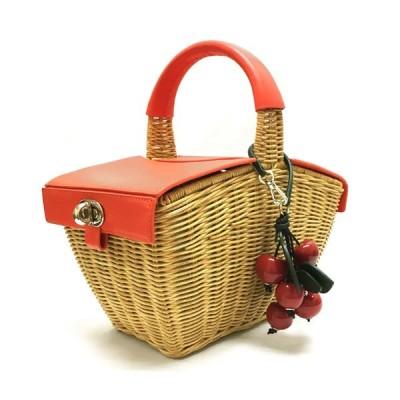 ケイトスペード バッグ ピクニック 3D ウィッカー ピクニック バスケット kate spade PXRUB410 245 レディース ハンドバッグ かごバッグ オレンジ