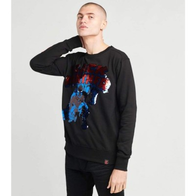 DE.KRYPTIC メンズ スウェット・トレーナー トップス black panther sequins long sleeve crew BLACK