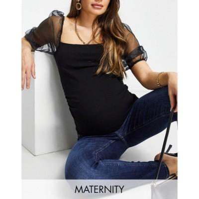 ミスガイデッド Missguided Maternity レディース ブラウス・シャツ トップス organza blouse with puff sleeves in black ブラック