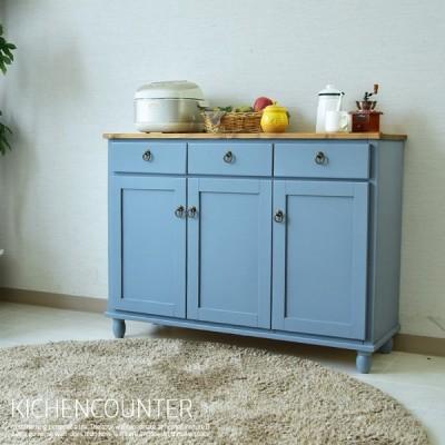 キッチンカウンター 幅115cm カントリー オイル塗装 レンジ台 カウンター