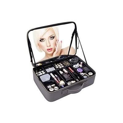 Rownyeon プロコスメボックス メイクボックス 化粧箱 ミラー 鏡付き 仕切り化粧品収納 メイク道具入れ 大容量 携帯便利 グレー41x30x1