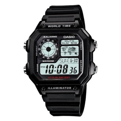 腕時計 CASIO カシオ メンズ レディース デジタル ブラック チープカシオ AE1200WH-1AV