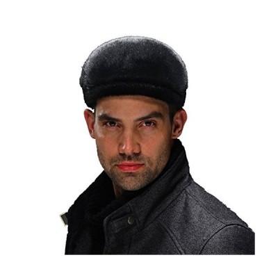 URSFUR Men's Sealskin Full Fur Cabbie Cap (Black)【並行輸入品】