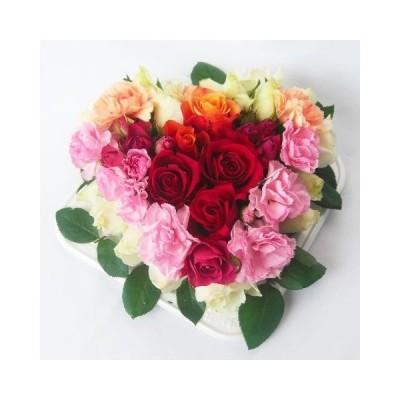 生花バラとカーネーションのフラワーケーキハート型4500円_包装_メッセ