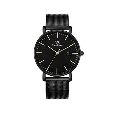Vigor Rigger メンズ石英腕時計ブラック シンプル 薄いミラネーゼループ 日付アナログ表示 ウォッチ