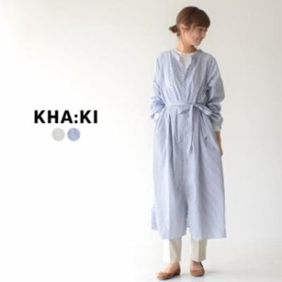 カーキ kha:ki スモック シャツ ドレス SMOCK SHIRT DRESS スタンドカラー ワイドシルエット シャツ ワンピース 膝下丈 ロング丈 レディ