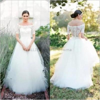 ウェディングドレス/ステージ衣装 エレガントなレースチュールAラインウェディングドレスホワイト/アイボリーハーフスリーブNEWブライダ