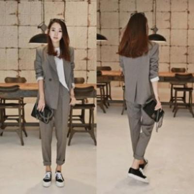 送料無料 ジャケット+パンツ フォーマルスーツ 韓国ファッション 春 秋 冬 上質 レディーススーツ