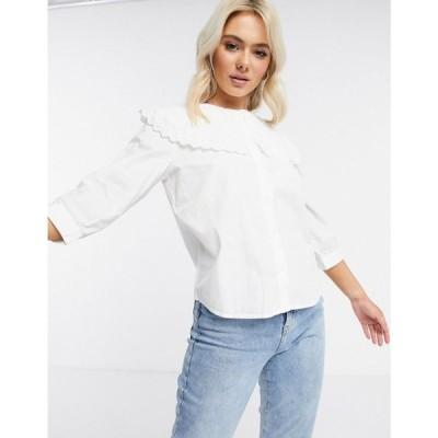 ジェイディーワイ JDY レディース ブラウス・シャツ トップス shirt with oversized prairie collar in white ホワイト