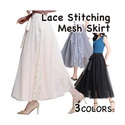 スカート ロング丈 プリーツ チュールスカート 花柄 リボン かわいい きれいめ ガーリー レディース ブラック ブルー アイボリー フリーサイズ