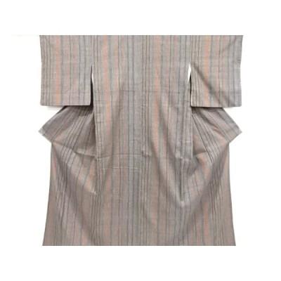 宗sou 板締め絞り縞模様織り出し手織り紬着物【リサイクル】【着】