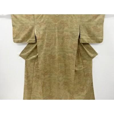 宗sou 流水に壷草花模様織り出し手織り紬単衣着物【リサイクル】【着】