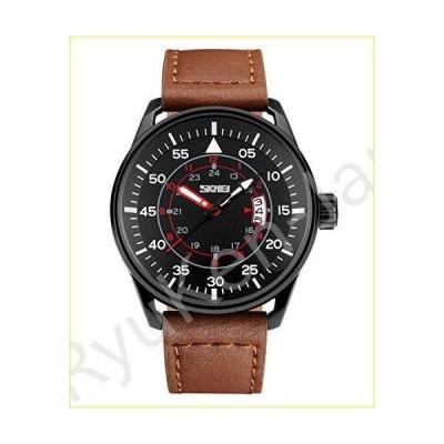 【新品・未使用品】Men's watches Luminous Hands Day and Date Analog Black Watch With Brown Leather Strap【並行輸入品】