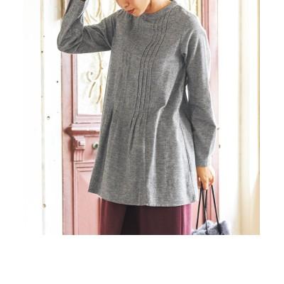 大きいサイズ 綿100%起毛タック使いチュニックブラウス(オトナスマイル) ,スマイルランド, plus size tops,