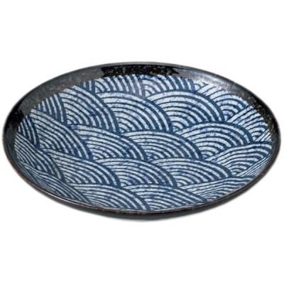 和風パスタ皿 和食器 / 青海波 7.5めん皿 寸法: 22.8 x 5cm