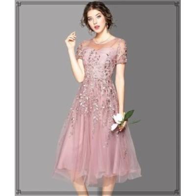 韓国 ファッション レディース ワンピース パーティードレス ひざ丈 袖あり シースルー チュール セクシー お呼ばれ 結婚式 二次会 披露