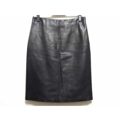 ロエベ LOEWE スカート サイズ36 S レディース - 黒 ひざ丈/レザー【中古】20200630