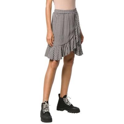 ガニー スカート ボトムス レディース GANNI Gingham Print Wrap Mini Skirt black/white