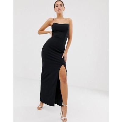 クラブエル ロンドン Club L London レディース ワンピース ワンピース・ドレス square neck midaxi dress in black Black
