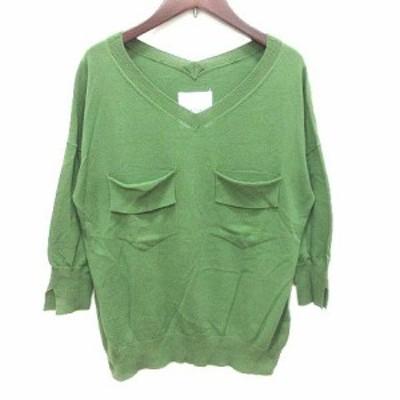 【中古】ザヴァージニア The Virgnia ニット カットソー Vネック 長袖 900 緑 グリーン /YK レディース