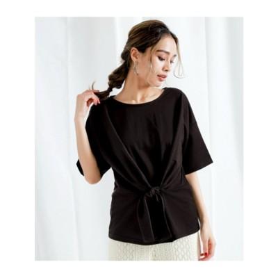 【Alluge】カットミラノウエストリボンTシャツ (ブラック(027))