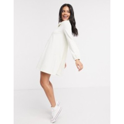 エイソス レディース ワンピース トップス ASOS DESIGN mini dress with lace trim collar in cream Cream