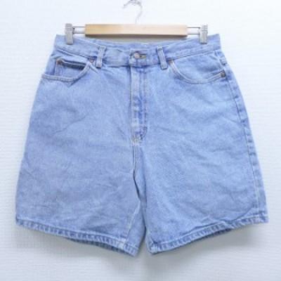 古着 レディース ショート パンツ ショーツ 90年代 90s リー Lee コットン USA製 薄紺 ネイビー デニム 中古 ボトムス 短パン ショーパン