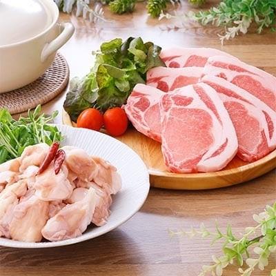 鹿児島県産豚テキカツ用&国産牛ホルモン(もつ鍋スープ付)