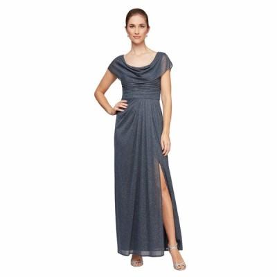 アレックスイブニングス ワンピース トップス レディース Petite Long Glitter Mesh Cowl Neckline A-Line Dress Smoke