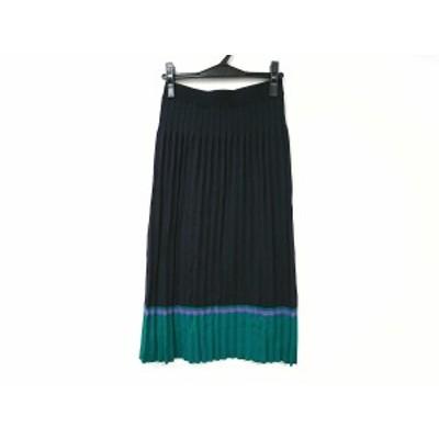 グレースクラス Grace Class ロングスカート サイズ36 S レディース 美品 - ダークネイビー×グリーン×パープル【中古】20201105