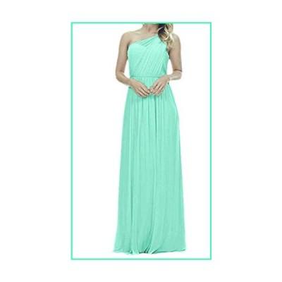 Future Girl Women's Long One Shoulder Bridesmaid Dress Asymmetric Prom Evening Gown Green,18並行輸入品