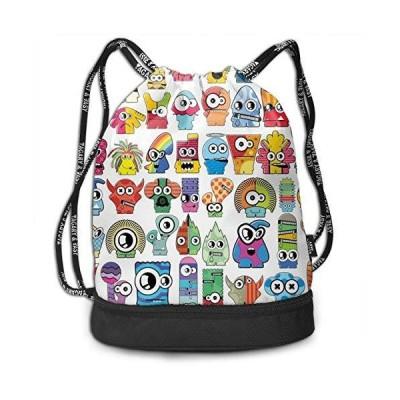 Cartoon Monster Fashion Outdoor Shopping Canvas Backpack Bundle Pocket Back