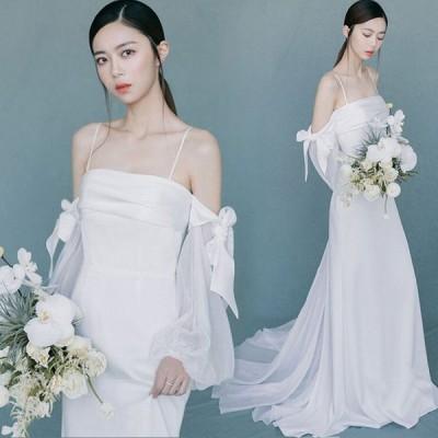 ホワイト ウェディングドレス サテン 結婚式ドレス ボートネック オフショルダー キャミ ドレス パフスリーブ リボン お洒落 花嫁 プリンセスドレス 披露宴