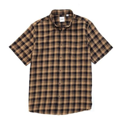 ロウン メンズ シャツ トップス Short-Sleeve Heather Gingham Sportshirt Dark Navy