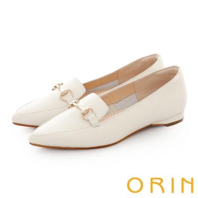 ORIN 氣質馬銜釦百搭樂福 女 平底鞋 白色
