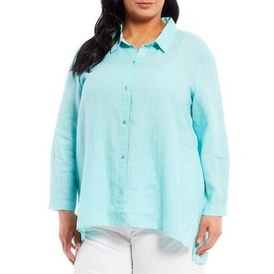 エイリーンフィッシャー レディース シャツ トップス Plus Size Organic Handkerchief Linen Classic Collar Boxy Shirt