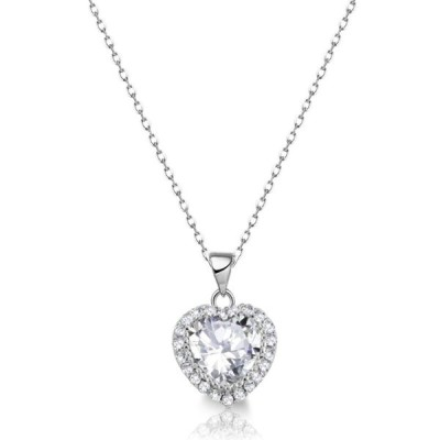 ファインジュエリー ネックレス  シルバー Halo Heart Simulated Diamond Genuine Sterling Silver Necklace