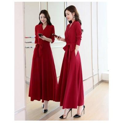 ロング 上品 エレガント ドレス パーティ ワンピース 4色