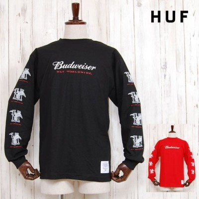 HUF×BUDWEISER ハフ バドワイザー イーグル ロゴ Tシャツ EAGLE L/S TEE BLACK RED 長袖 コラボ ロンT トップス レッド 赤 ブラック 黒 メンズ 男性 レディース