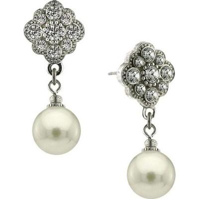 2028 レディース イヤリング・ピアス ドロップピアス ジュエリー・アクセサリー Silver-Tone Crystal and Simulated Pearl Round Drop Earrings Silver