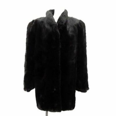 【中古】サガミンク SAGA MINK 銀サガ コート 毛皮 アウター ロング ミンクファー 11 L 黒 ブラック ■EC レディース