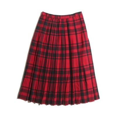70's〜80's Evan-Picone UNION MADE ILGWU チェック柄ウールプリーツスカート(レッド×ネイビー)【W26】