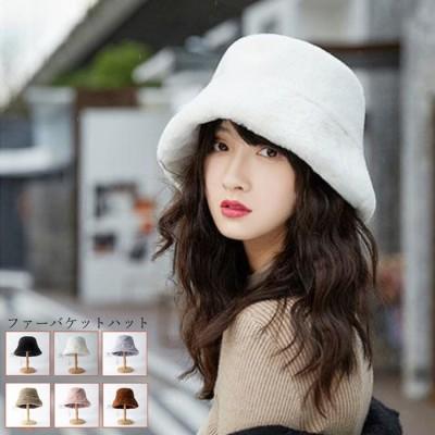miniministore バケットハット レディース ハット 帽子 ファー ふわふわ 冬 暖かい 厚手 おしゃれ 可愛い 韓国 ブラウン フリー レディース