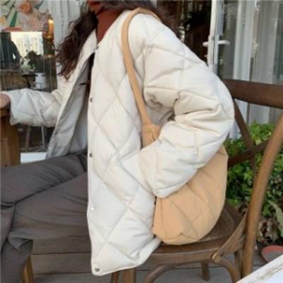 2色 キルティング ジャケット ノーカラー アウター ホワイト ブラック 大人カジュアル シンプル レディース ファッション 韓国
