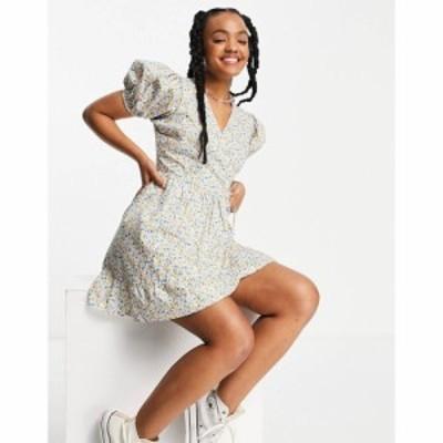 インフルエンス Influence レディース ワンピース ラップドレス cotton poplin wrap dress with puff sleeves in ditsy floral マルチカ